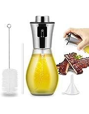RenFox Ölsprüher 200 ml Öl Sprayer Premium Essig/Öl ölzerstäuber aus Edelstahl und Glas Öl Sprühflasche für Kochen, BBQ, Grillen, Pasta, Salate, Backen und Braten