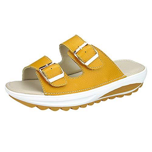 2ceee57c161f3b Casual Compensé D'été Talon Toe Sandales Femme Peep Chaussures Tongs Wedges  Lianmengmvp Compensées Platform Jaune w0tYq