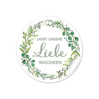 3er Set 3 Bögen A 24 Sticker 72 Aufkleberlasst Unsere Liebe Wachsen In Grün Mit Zweigen Gastgeschenke Zur Hochzeit Samentüten Blumige