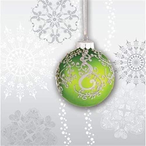 hersrfv home Jingle Bells Green Bulb Beverage Napkins 18 Pack Christmas Winter Decoration