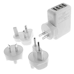 Importer520 Universal 4-Port Wall USB Wall Travel Home to AC Power Adapter 2.1 Amp Charger Travel Kit with Interchangeable Plugs (US, UK, EU, AU) For LG MyTouch Q C800