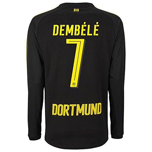 Borussia Dortmund away Dembele 7L/s Shirt 20172018(Official Player Printing), Uomo, Black