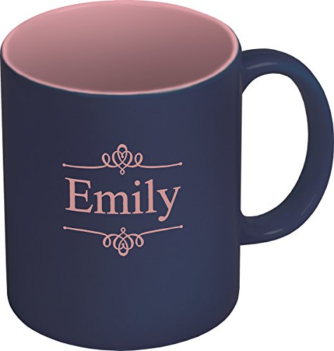 Personalized Laser Engraved Ceramic Navy Pink product image