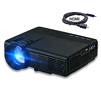 Projector, XINDA LCD 1200 Lumens Mini Multi-media Portable Video Projector Game Home Cinema Theater Movie Projector Support Full HD 1080P White XD005B-Black PJXD-005BB