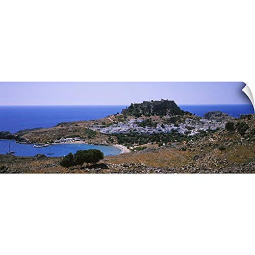 - CANVAS ON DEMAND Wall Peel Wall Art Print Entitled High Angle View of a Town, Acropolis, Lindos, Rhodes, Greece 90