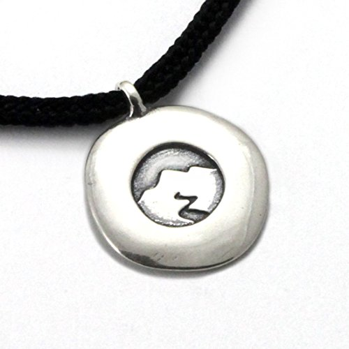 Tarma Sterling Silver Mountain Spirit Disc Pendant, Black, One Size - Disk Cord Pendant