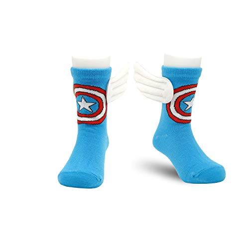 RoiRu 4-6 Years Old Kids Crazy Socks Cartoon Marvel Captain America Children Funny Cool Superhero Desgin Blue Multicolor with 3D Wings Mid-Calf Length Socks Unisex Toddler Boys Girls (1 pair)
