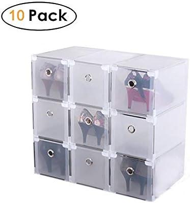 Homgrace 10 Cajas para Zapatos Transparente Plástico, Caja Guardar Zapatos para la Organización Hogar, 29x18x18 cm, Diseño Que Aumenta la Altura para Tacones Altos: Amazon.es: Hogar