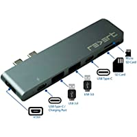 USB C Hub Adapter for Macbook Pro 13 or 15 Inch 2016 2017 Micro SD Memory Card Reader HDMI | Multi port Thunderbolt 3 Hub Dongle Space Gray REVERT