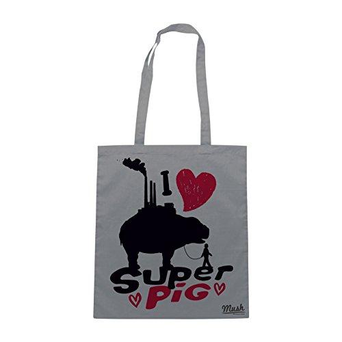 Borsa OKJA FILM - I LOVE SUPER PIG - Grigio - FILM by Mush Dress Your Style