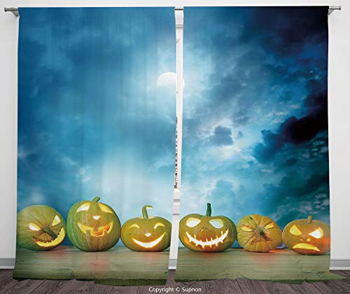 Rod Pocket Curtain Panel Polyester Translucent Curtains for Bedroom Living Room Dorm Kitchen Cafe/2 Curtain Panels/108 x 90 Inch/Halloween,Spooky Halloween Pumpkins on Wood Table Dramatic Night Sky Pr -