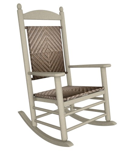 (Rocker Jefferson Woven Chair Frame Finish: Sand, Seat/Back Finish: White Loom)
