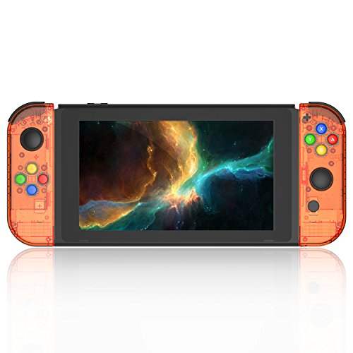 BASSTOP [Update Version] NS Joycon Handheld Controller Housing DIY Replacement Shell Case for Nintendo Switch Joy-Con (L/R) Without Electronics (Joycon-Fire Orange) ()