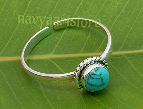 925 Sterling Silver Turquoise Toe Ring For Girl Women Body Jewellery - Stone Gemstone Adjustable Feet Toe ()