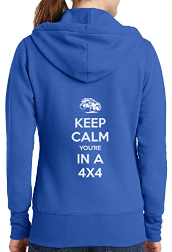 Womens Keep Calm 4x4 Full Zip Hoodie, Royal, 4X