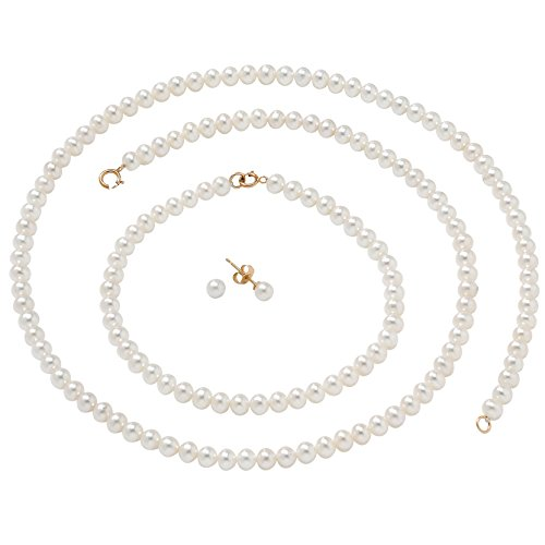 White Cultured Freshwater Pearl 14k Yellow Gold Necklace, Bracelet and Earrings 3-Piece Set 18