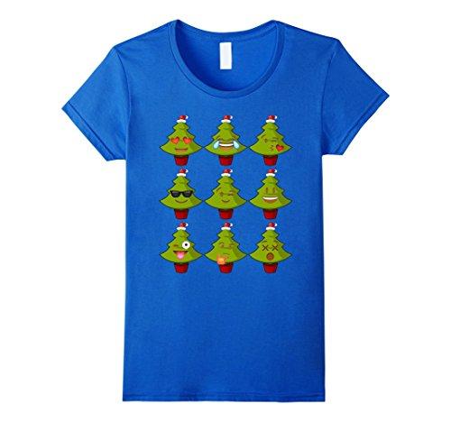 [Womens Christmas Tree Emoji Shirt Costume Ideas Large Royal Blue] (2017 Movie Costumes Ideas)