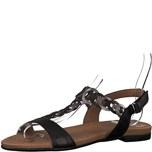 sandales chaussures 22 plat Femme D'été pewter Sandale it Tamaris 1 28127 1 Lanières touch sandales À Black Lanières confortable qzCxwPpF