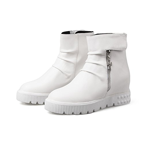 Velcro Boots Zipper Leather Womens White Ring Platform Imitated BalaMasa 0wEZIqI