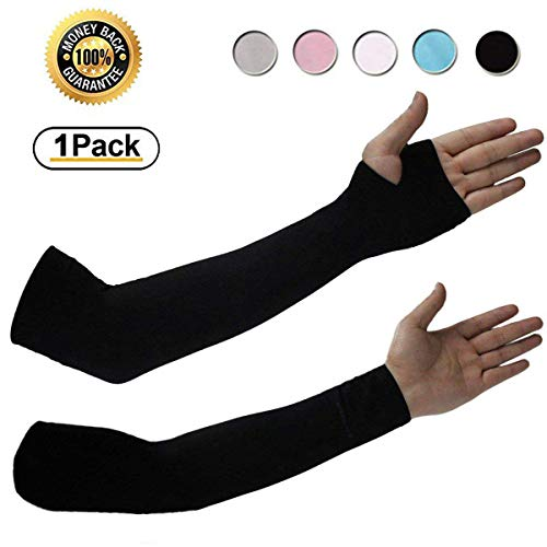 Achiou Cooling Arm Sleeves UV Sun Protection for Men Women Sunblock Cooler Protective Outdoor Sports Gloves Long Arm Cover (Black)