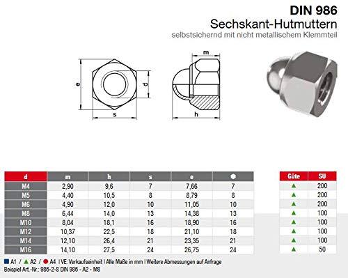 10 STK Selbstsichernd Hutmuttern Edelstahl DIN 986 V2A Edelstahl A2 M8