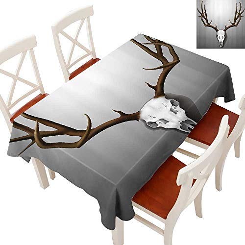Antler Decor Elegant Waterproof Spillproof Polyester Fabric Table Cover Realistic Deer Skull with Large Horns Elk Skeleton on Abstract Backdrop Tablecloths for Rectangle/Oblong/Oval TablesBrown White