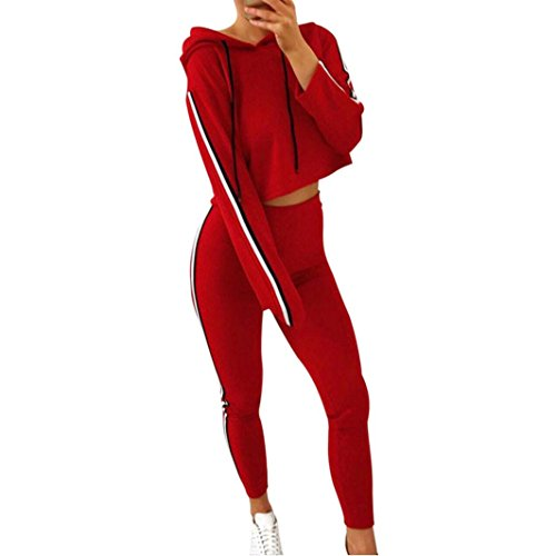Challyhope Hote Sales, Women Tracksuit Sports Casual Pullover Sweatshirt Cropped Tops+Pants Sets (Red, L)