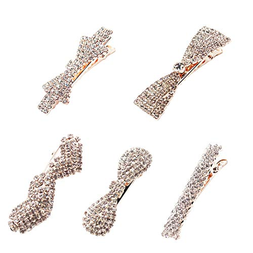 - Vpang 5 Pcs Clear Rhinestone Hair Barrette Clip Hair Pin Hair Clip Duckbill Alligator Clip Pin Hair Accessories for Women Girls