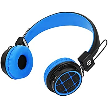Kids Headphones Wireless Bluetooth Headphones for Kids Toddlers On Ear Headset with 3.5mm Wired Jack Cord SD Card Slot for PC Tablet Iphone Ipod Cellphone-Handal (Blue/Black)