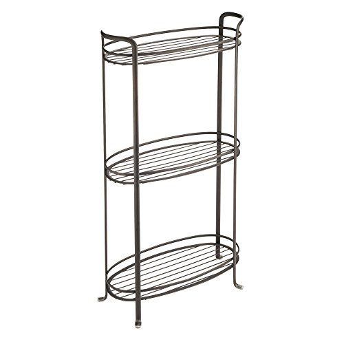 e Standing Bathroom Storage Shelves for Towels, Soap, Candles, Tissues, Lotion, Accessories - 3 Tiers, XL, Bronze ()