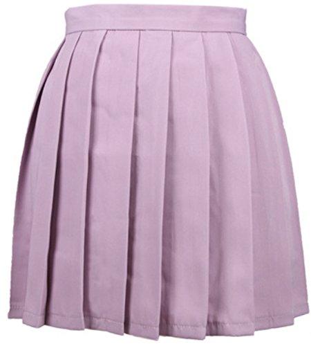 Party Soire Couleur Unie Plisse Violet Clair Haute Jupe Femme Jupes t Mini Taille Cocktail de 1RBHq7