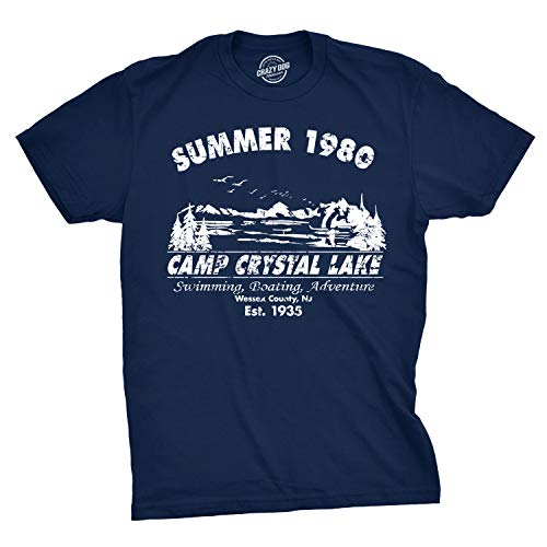 Mens Summer 1980 Mens Funny T Shirts Camping Shirt Vintage Horror Novelty Tees (Navy) L