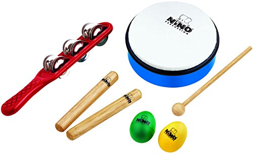 Nino Percussion NINOSET3 Hand Percussion Rhythm Set with Egg Shakers, Claves, Jingle Stick, and Frame Drum (VIDEO)
