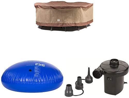 Duck Covers Ultimate Round Patio Table with Chairs Cover, 108-Inch with Duck Dome Airbag, 54 D x 24 H and Duck Dome Airbags Electric Air Pump