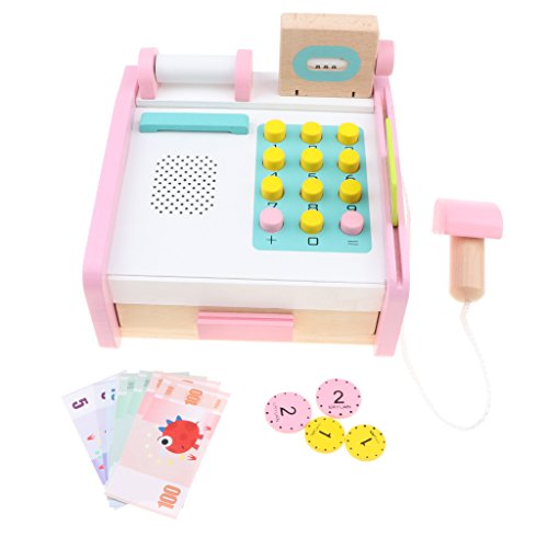 (Fityle Kids Wooden Cash Register Playset with Assorted Accessories Pretend Play Toy for Boys Girls)