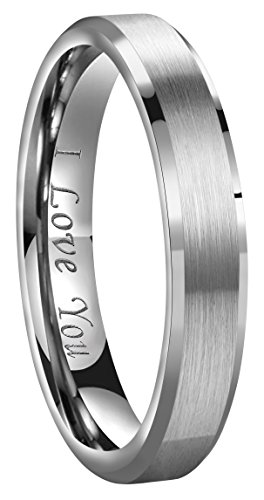 CROWNAL 4mm/6mm/8mm Tungsten Couple Wedding Bands Rings Men Women Brushed Finish Beveled Edges Engraved I Love You Size 4 To 17 (4mm,5) by CROWNAL