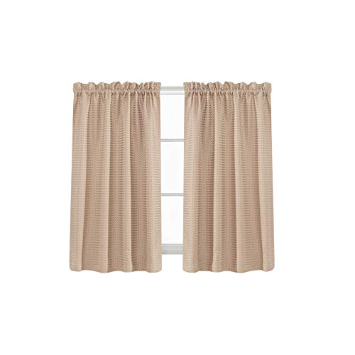 Waffle Woven Cafe Curtains Waterproof Kitchen Window Curtain Sets For  Bathroom (72 By
