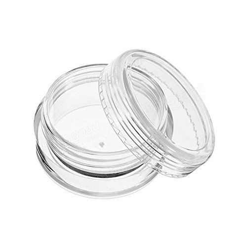 - Furnido 12Pcs Refillable Clear Round Plastic Jar Sample Empty Tin Storage Containers with Screw Lid for Eyeshadow Makeup Face Cream Jar Travel pots Cosmetic Bead Storage Container 5 Gram