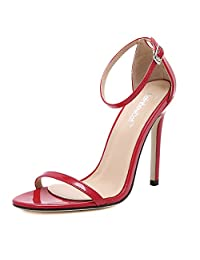 Womens PU Lether Simple style Stiletto Sandals