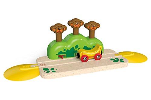 Monkey Train - Hape Wooden Railway Monkey Pop-Up Track Train Set