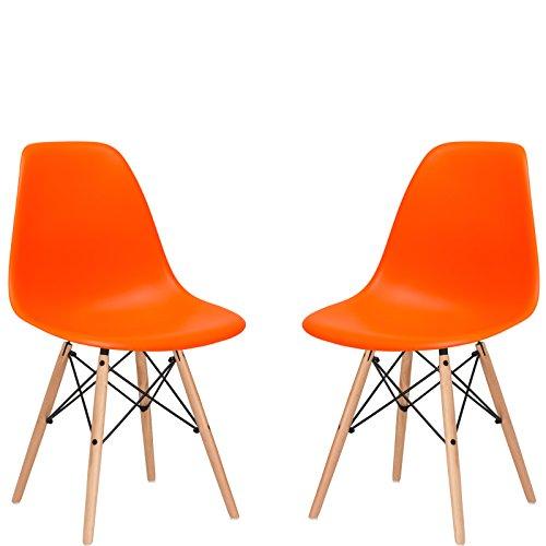 Poly and Bark Vortex Side Chair, Orange, Set of 2