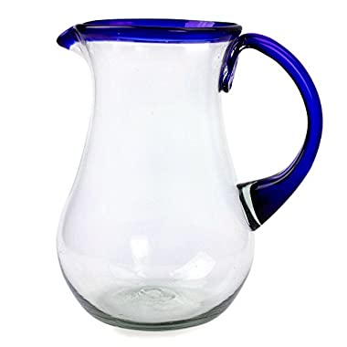 NOVICA Artisan Crafted Blue Accent Clear Glass Recycled Hand Blown Pitcher From Mexico, 82 oz, 'Blue Grace'