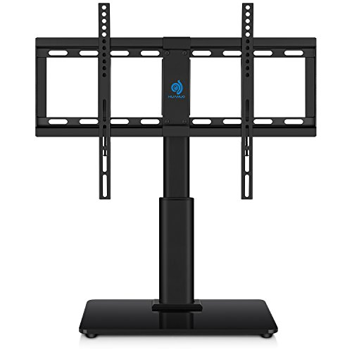 HUANUO Universal Table Top TV Stand for 32 to 60 inch TVs with 40 Degree Swivel, Height Adjustable Stands with 4.7 inch Adjustment,Tempered Glass Base,Hold up to 60lbs TVs
