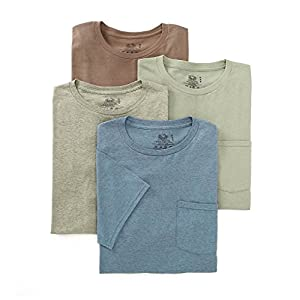 Fruit of the Loom Men's Pocket Crew Neck T-Shirt - X-Large - Assorted (Pack of 4)