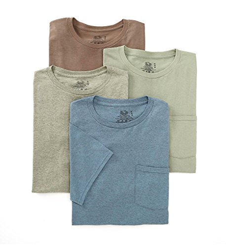 Loom Pocket T-shirts (Fruit of the Loom Men's Pocket Crew Neck T-Shirt - X-Large - Assorted (Pack of 4))