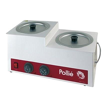 Pollié Fusor de cera grande 8Kg con termostato y filtro colador, profesional | 2 recipientes