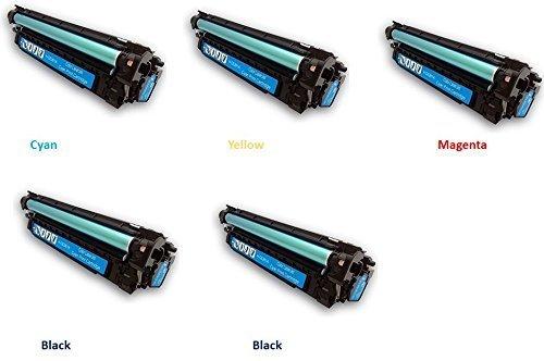 Black Hawk Toner 5 Pack HP CE250X, CE251A, CE252A, CE253A (HP 504A) BCYM LJ for HP Printer CP3525 CM3530, 2 Black, 1 Cyan, 1 Yellow, 1 Magenta