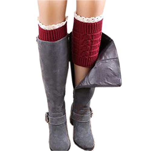 Riccos  Tm  Womens Fashion Winter Kintted Stretchy Warm Short Boot Toppers Leg Warmer Sock With Lace Trima  Red