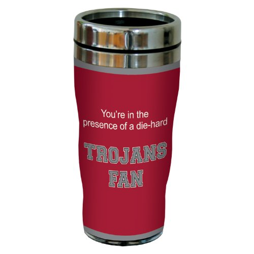 Tree-Free Greetings sg24584 Trojans College Football Fan Sip 'N Go Stainless Steel Lined Travel Tumbler, 16-Ounce ()
