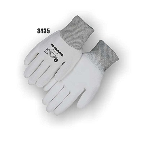 Majestic Glove 3435/S Dyneema Polyurethane Palm Coated Gloves, 13 Gauge, Seamless Knit Gloves, Small, White/White Hem (Pack of 12) (Gloves Coated Dyneema Palm)